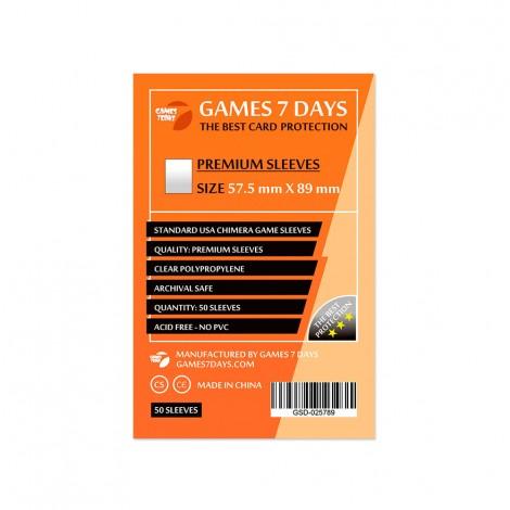 Протекторы для карт Games 7 Days Premium 57,5 x 89 мм (50шт)