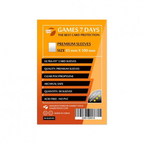 Протекторы для карт Games 7 Days Premium 65 x 100 мм (50шт)