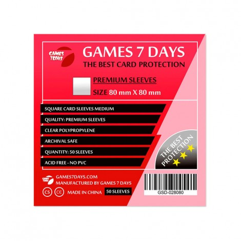 Протекторы для карт Games 7 Days Premium 80 x 80 мм (50шт)