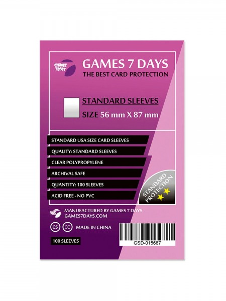 Протекторы для карт Games 7 Days Standart 56 x 87 мм (100шт)