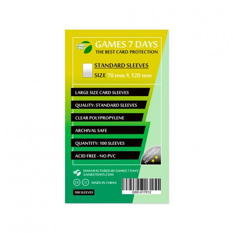 Протекторы для карт Games 7 Days Standart 70 x 120 мм (100шт)