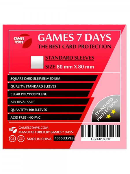 Протекторы для карт Games 7 Days Standart 80 х 80 мм (100шт)